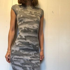 Enza Costa gray camo ribbed dress with cap sleeves
